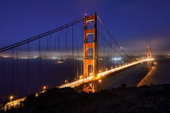 Golden Gate Bridge at night, San Francisco. Golden Gate Bridge in fog , San Francisco, USA Royalty Free Stock Photography