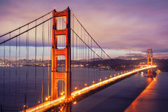 The Golden Gate Bridge by night Stock Photos