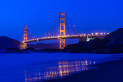 Golden gate bridge at night in San Francisco Stock Image