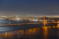 Golden Gate Bridge at night, San Francisco, USA Stock Images