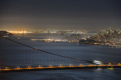 Golden Gate Bridge at night, San Francisco, USA Stock Photos