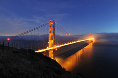 Golden Gate Bridge night scene royalty free stock photos