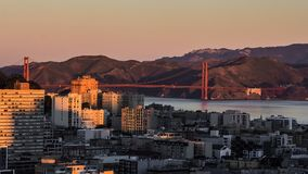 Golden Gate Bridge from night to day. Time lapse of San Francisco bay area with Golden Gate Bridge from night to day stock video footage