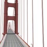 Golden gate bridge no branco ilustração 3D Imagens de Stock Royalty Free