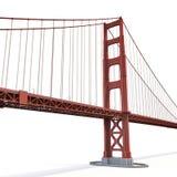 Golden gate bridge no branco ilustração 3D Imagens de Stock