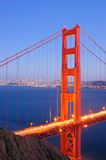 Golden Gate Bridge, North Tower. North tower of Golden Gate Bridge glows in the dusk Royalty Free Stock Photos