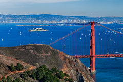 The Golden Gate Bridge, Oakland City and Alcatraz Stock Photography