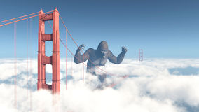 Golden gate bridge och jätte- gorilla Arkivfoto