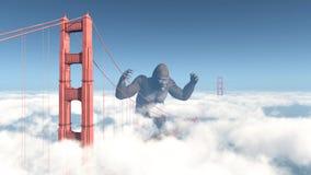 Golden gate bridge och jätte- gorilla Arkivfoto