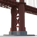 Golden gate bridge op wit 3D Illustratie Stock Fotografie