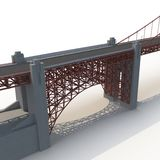 Golden gate bridge op wit 3D Illustratie Royalty-vrije Stock Foto's