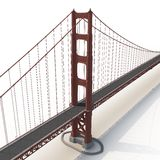 Golden gate bridge op wit 3D Illustratie Stock Foto's