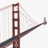 Golden gate bridge op wit 3D Illustratie Stock Afbeelding