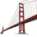 Golden gate bridge op wit 3D Illustratie Royalty-vrije Stock Afbeelding