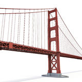 Golden gate bridge op wit 3D Illustratie Stock Afbeeldingen