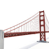 Golden gate bridge op wit 3D Illustratie Royalty-vrije Stock Foto