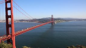 Golden Gate Bridge and opening to the ocean stock footage