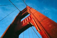 Golden Gate Bridge Orange Blue Sky Cables Stock Images