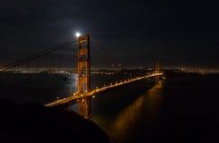 Golden gate bridge på natten med San Francisco cityscape Fotografering för Bildbyråer