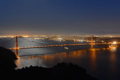 Golden gate bridge på natten, San Francisco, USA Royaltyfria Foton