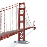 Golden gate bridge på vit illustration 3d Arkivfoton