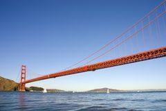 Golden gate bridge from the Pacific ocean Royalty Free Stock Photo