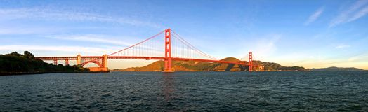 Golden Gate Bridge Panorama. A Panorama of the Golden Gate Bridge from the shore of the San Francisco Bay Stock Images