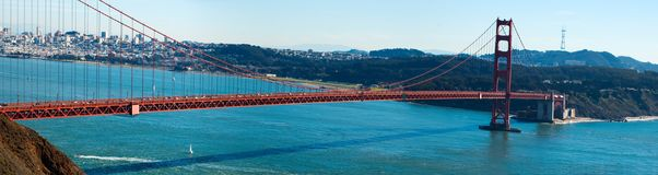 Golden Gate bridge panorama. Golden Gate bridge panoramic view royalty free stock photo