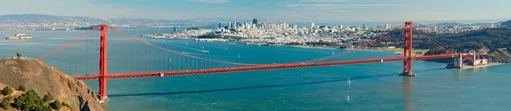 Golden Gate bridge panorama. Golden Gate bridge panoramic view royalty free stock photography