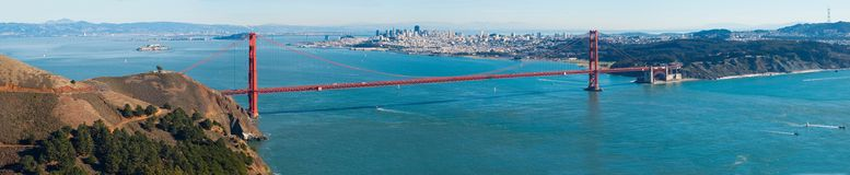 Golden Gate bridge panorama. Golden Gate bridge panoramic view royalty free stock image