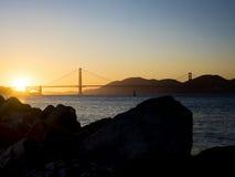 Golden gate bridge-Panorama bei Sonnenuntergang Stockfotos