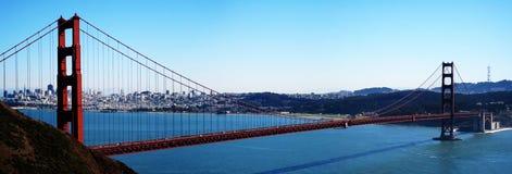 Golden Gate bridge panorama. Panorama of the Golden Gate bridge, with the skyline of San Francisco as a background (California, USA stock photo