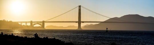 Golden Gate Bridge Panorama at Sunset. San Francisco, USA Stock Images