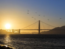 Golden Gate Bridge Panorama at Sunset Stock Images