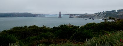 Golden Gate Bridge Panorama. View of the Golden Gate Bridge from Lands End stock photography