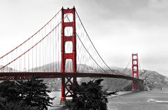 Golden Gate Bridge. Pops of color on a monochromatic background image of the golden gate bridge Royalty Free Stock Photo