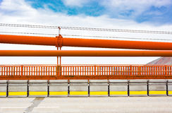 Golden gate bridge railings. With the iron suspension cables above Royalty Free Stock Photography
