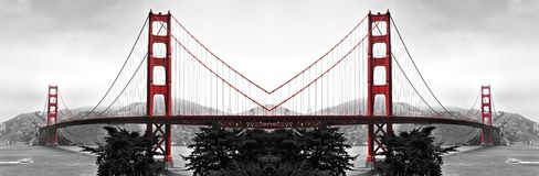 Golden gate bridge reflexioner Royaltyfri Fotografi
