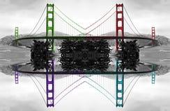 Golden gate bridge reflexioner Arkivfoton