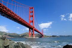 Golden Gate Bridge and rocks Stock Photos