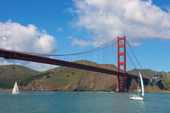 Golden Gate bridge with sailing boats. San Francisco, USA, Golden Gate Bridge with sailing boats Royalty Free Stock Images
