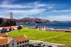 Golden Gate Bridge in San Fracisco City and Crissy Field Stock Photo