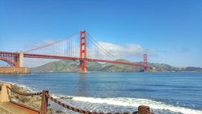 Golden Gate Bridge in San Francisco. America bay beautiful blue city cityscape coast coastline historic monument nature ocean sunny sunshine united states usa stock image