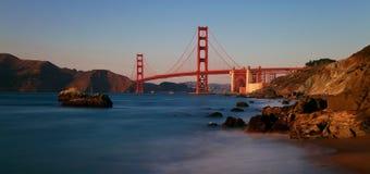 Golden Gate Bridge, San Francisco. Panorama of the world famous Golden Gate Bridge shortly before sunset stock photography