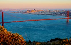 Golden Gate Bridge and San Francisco. At sunset Royalty Free Stock Photography