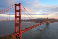 Golden Gate Bridge and San Francisco Bay. At sunset, seen from Marin Headlands royalty free stock images
