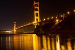 Golden Gate Bridge. San Francisco Bay at night Royalty Free Stock Photo