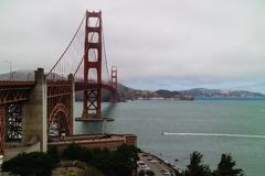 The Golden Gate Bridge in San Francisco Bay during an overcast day royalty free stock photo