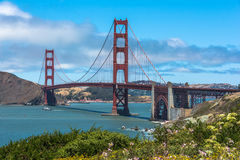 The Golden Gate Bridge in the San Francisco Bay. A view of the Golden Gate Bridge in the San Francisco Bay royalty free stock photo