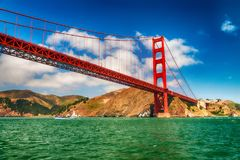Golden Gate Bridge in San Francisco from boat tour Royalty Free Stock Photography